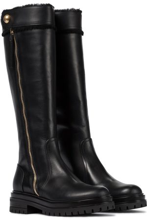 Gianvito Rossi Montreal fur-trimmed leather knee-high boots
