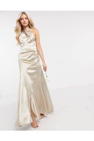 ASOS Bridesmaid satin halter maxi dress with panelled skirt and keyhole detail-Neutral