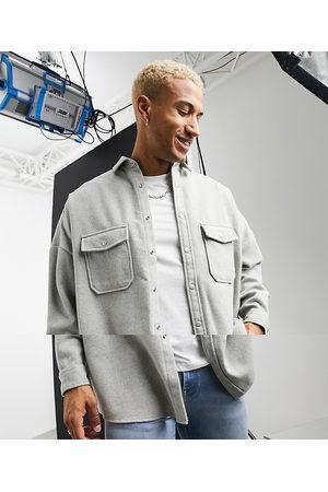 ASOS Oversized wool mix overshirt in light