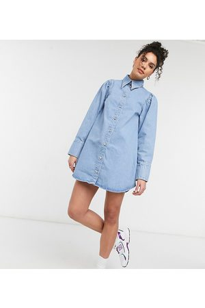 ASOS ASOS DESIGN Tall denim puff sleeve shirt dress in midwash