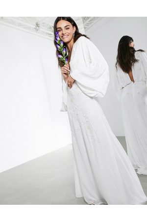 ASOS Lisa drape sleeve plunge wedding dress with floral embellishment
