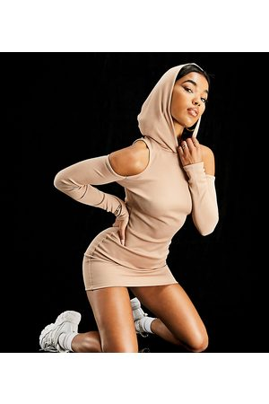 AsYou Hooded mini dress in mocha