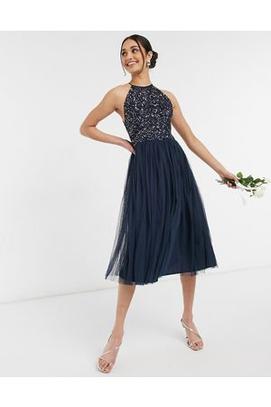 Maya Bridesmaid halter neck midi tulle dress with tonal delicate sequin in
