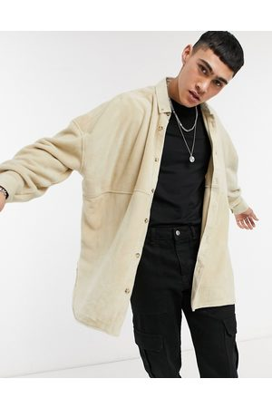 ASOS Fleece extreme oversized shirt in stone