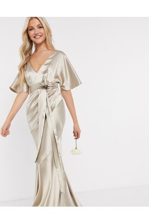 ASOS Bridesmaid satin kimono sleeve maxi dress with panelled skirt and belt in Oyster