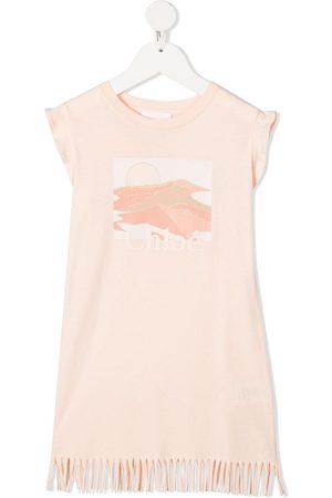 Chloé Fringed hem jersey dress