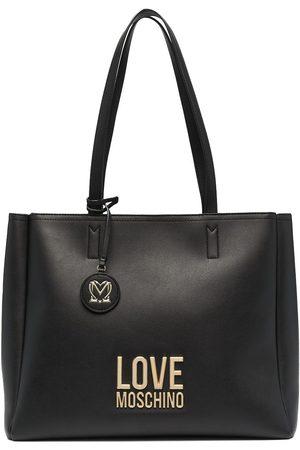 Love Moschino Logo plaque shopper tote