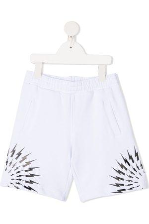 Neil Barrett Thunderbolt print cotton shorts