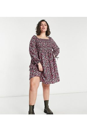 Yours Women Printed Dresses - Square neck mini smock dress in floral