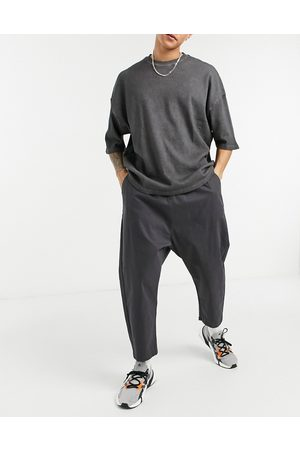 ASOS Drop crotch chinos in charcoal