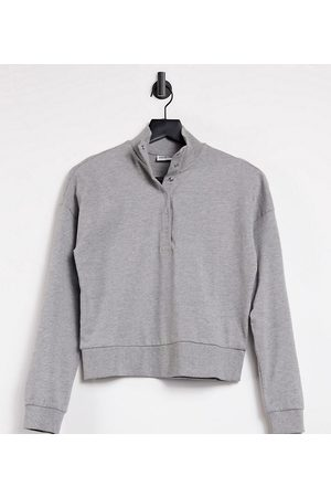 Noisy May Petite Sweatshirt with high neck and popper detail in light