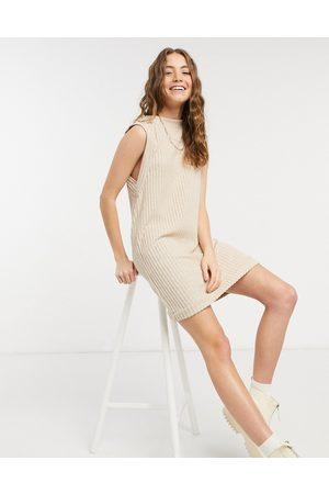 ASOS DESIGN Brushed rib sleeveless mini dress in camel-Neutral