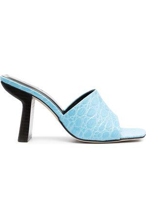By Far Liliana crocodile-embossed sandals