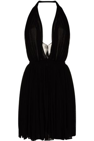 Saint Laurent Halterneck pleated mini dress