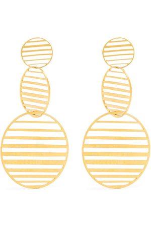 HSU JEWELLERY LONDON Flowing pattern triple circle earrings
