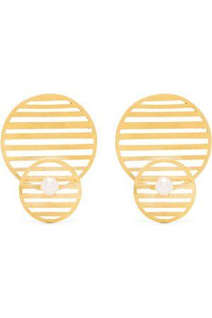 HSU JEWELLERY LONDON Flowing double pattern circle earrings