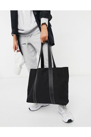 ASOS Canvas tote bag with PU straps in