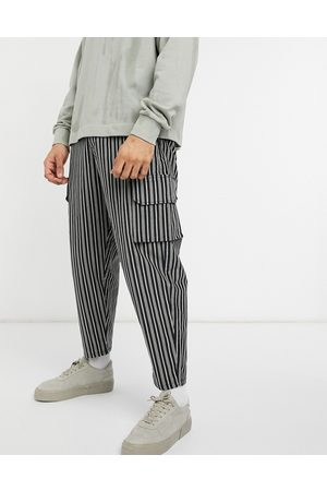 ASOS Oversized tapered cargo joggers in textured stripe