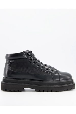 ASOS Lace up boot in faux leather with double stacked sole