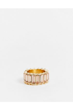 ASOS Ring with pink baguette stones in tone
