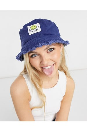ASOS Women Hats - Canvas bucket hat with happy face label in navy