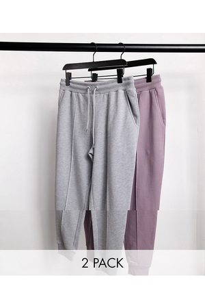 ASOS Tapered joggers with pin tuck in grey marl & purple 2 pack