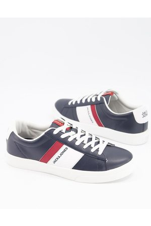 Jack & Jones Faux leather trainer with stripe logo in navy