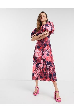 NA-KD Open back puff sleeve midi dress in pink floral