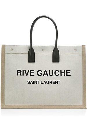 Saint Laurent Women Handbags - Rive Gauche Linen & Leather Tote Bag
