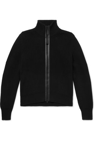 Tom Ford Leather-Trimmed Ribbed Wool and Cashmere-Blend Zip-Up Cardigan