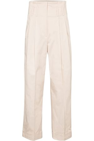 Brunello Cucinelli High-rise straight stretch-cotton pants