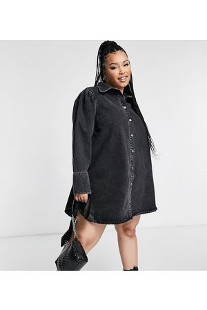 ASOS ASOS DESIGN Curve denim puff sleeve shirt dress in washed