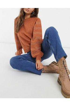 Pieces Women Straight - Straight leg jean in medium denim