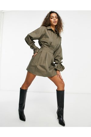 Missguided Skater shirt dress with tie cuff ballooon sleeve in khaki