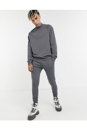 ASOS Funnel neck tracksuit with skinny jogger in dark