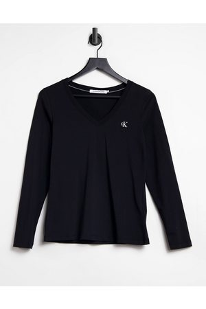 Calvin Klein Women Long Sleeve - Icon logo v neck long sleeve t-shirt in