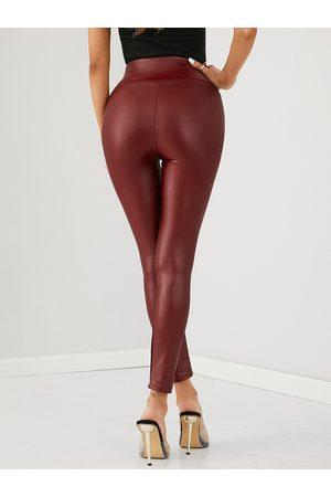 YOINS Burgundy Super Stretch Faux Leather Leggings