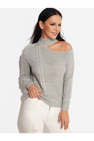 YOINS Cable Knit Plain One Shoulder Long Sleeves Sweaters
