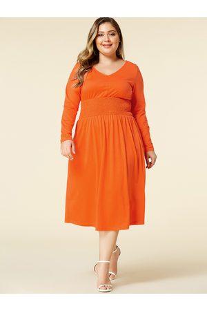 YOINS Plus Size V-neck Shirring Long Sleeves Dress