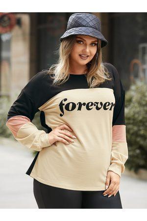 YOINS Plus Size Patchwork Letter Long Sleeves Sweatshirt