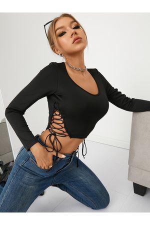 YOINS Criss-cross Tie-up Design Scoop Neck Long Sleeves Crop Top