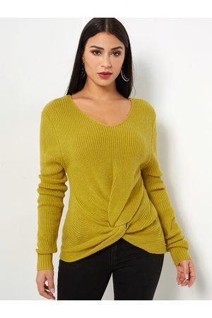 YOINS Women Long Sleeve - V-neck Long Sleeves Knotted Front Sweaters