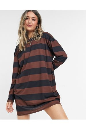 ASOS Oversized long sleeve t-shirt dress in chocolate and black stripe