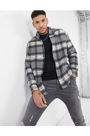 ASOS 90s oversized wool mix check shirt in large scale