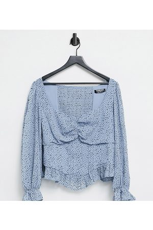 Fashion Union Milkmaid blouse with frill edge in polka dot
