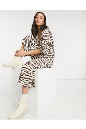 ASOS Women Jumpsuits - Wrap textured smock jumpsuit in animal-Multi
