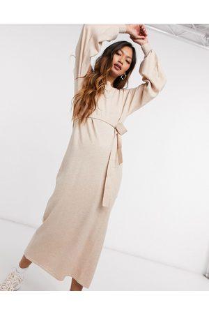 ASOS Maxi dress with tie waist detail in oatmeal