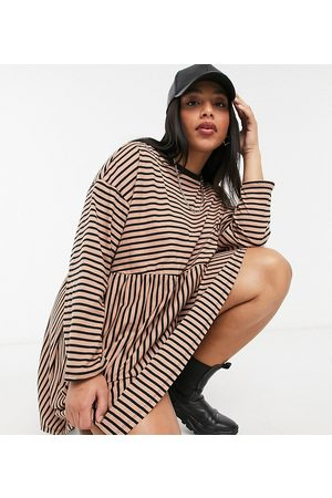 ASOS ASOS DESIGN Curve super oversized long sleeve smock dress in camel and black stripe