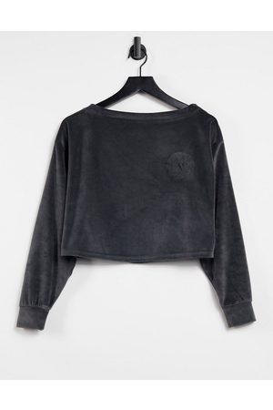 ASOS Mix & match lounge velour off shoulder sweat in charcoal