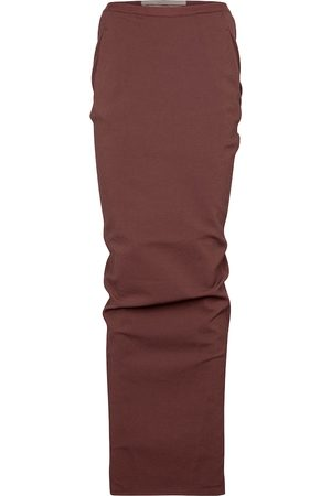 Rick Owens Pillar stretch cotton-blend jersey midi skirt